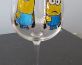 Minions Unite! Hand Painted Wine Glass 10 ounce size Made to Order