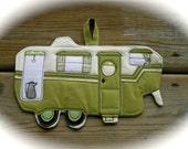 Camper Potholder, Camping potholder,  Vintage 5th wheel, Made to order