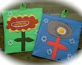 Flower potholders, Set of 2, Flower hot pads, upcycled wool potholders,  Random Works of Art Potholders