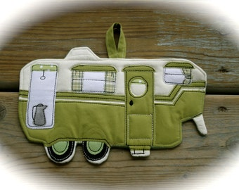 Camper Potholder, Camping potholder,  Vintage 5th wheel, Made to order