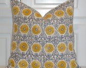 DURALEE - Decorative Pillow Cover - Floral Suzani in Yellow and Grey - Accent Pillow - Euro Sham - Linen Pillow