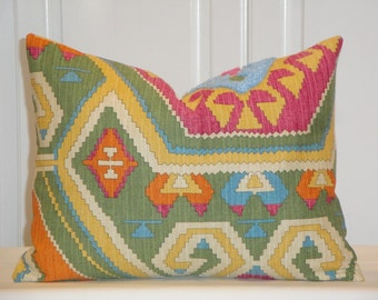 SET OF TWO - 12 x 16 - Decorative Pillow Cover -  Southwest Embroidery - Green - Yellow - Orange - Raspberry