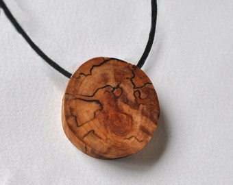 birch wood pendant on a cotton cord / or ring