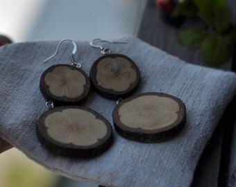 wood earrings • lovely wooden earrings • white oak earrings
