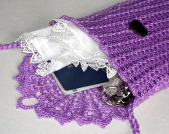 Lilac wallet purse crochet lace shoulder bag violet cotton pouch with long strap travelers bag