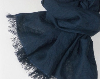 Midnight blue man's scarf, washed frayed linen unisex minimalist style shawl, summer gift for guy