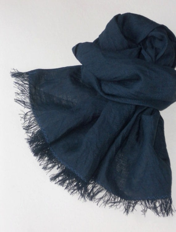 Midnight blue man's scarf large washed frayed linen unisex minimalist style shawl fall gift for guy