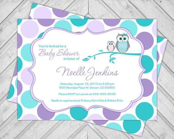 unique purple and teal baby shower invitations for girls with owls