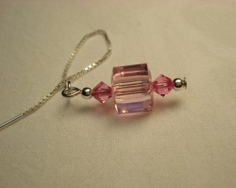 Light Pink Cube Swarovski Crystals  on Sterling  Ear Threads- Threader Earrings/Necklace-FREE SHIPPING To U.S.