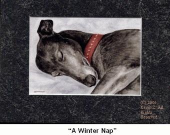 Black Greyhound Sleeping A Winter Nap Limited Edition Print NEW Kevin Z
