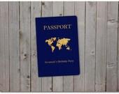 Printable Birthday Party Passport - 5x7 instant download - World Passport, baby shower, wedding, bridal shower - Custom passport - Template