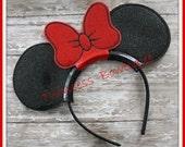 Minnie Mouse Bow Ears Headband - CUSTOM - Twincess Bowtique