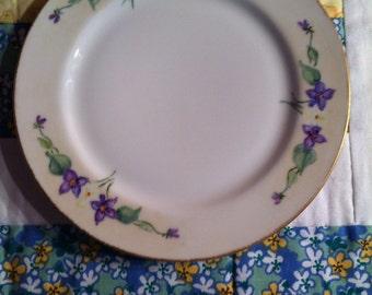 Vintage Hand Painted Salad Plate Violets By Sallie C Lewis 1957