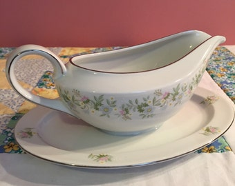Vintage Gravy Boat With Attached Under Plate Forever Spring By Johann Haviland Made In Germany #3874