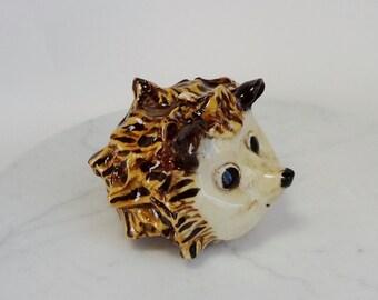 Hedgehog Sculpture - Hand Built Pottery - Clay Hedgehog - Pottery Animal - Forrest Animal - Brown and White - Ceramic Hedge Hog - Folk Art