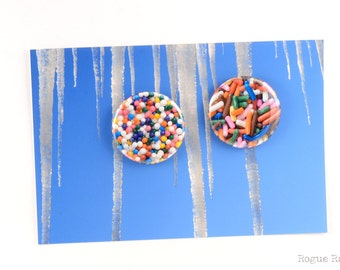 """Sprinkes Magnets - Candy Pinback Buttons - Original Images - Sprinkles Jimmies - 1.5"""" Sweet Tooth Buttons or Magnets"""