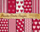 Soft Valentines Digital Paper Pack in Classic Red--Instant Download