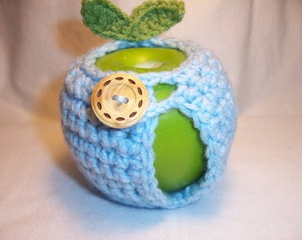 Handmade Crocheted Apple Cozy - Crochet Apple Cozy - Soft Blue Color - Ready To Ship