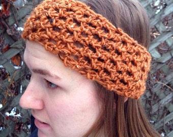 Buttoned Up Crochet Headband in Copper