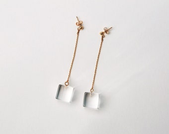 Square Lucite Drop Earrings