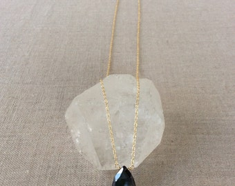Silver Coated Black Spinel Modern Necklace - Choice of Metal