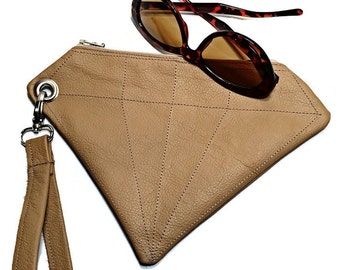 Leather Clutch Wristlet Bag, Detachable strap, Repurposed Leather