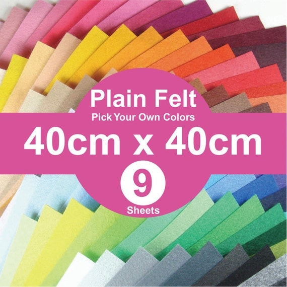 9 Plain Felt Sheets - 40cm x 40cm per sheet - pick your own colors (A40x40)
