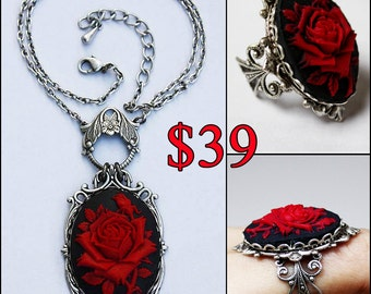 SET! Rose ring and Ruby rose victorian cameo gothic necklace