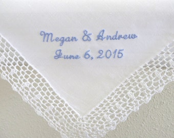 Wedding Handkerchief with Bride and Groom's Names and Date