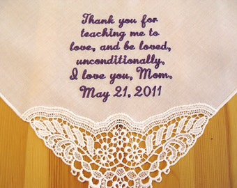 Wedding Handkerchief, Cream Color German Plauen Lace Bridal Handkerchief, Style No. 40772 with custom message No. 1