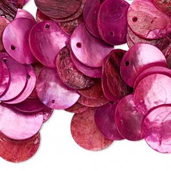 100pcs Mussel Shell Pendant Natural Drop 15mm Round Fuchsia