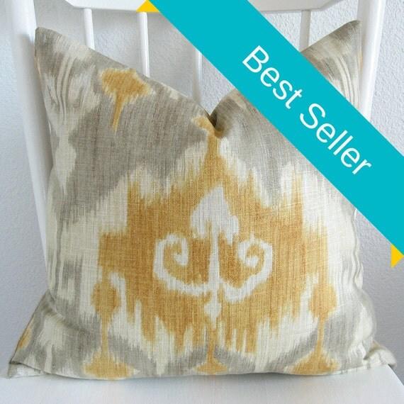 Modesto Chamomile ikat yellow gray decorative pillow cover