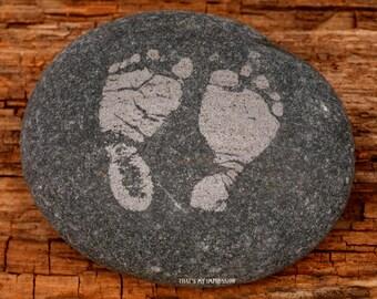 Personalized Baby Footprints on Stone-- Memorial Rocks-- Inspirational Handwritten Garden Stone