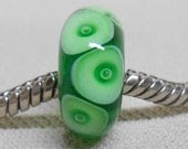 Handmade Large Hole Lampwork Bead European Charm Bracelet Bead, Transparent Green With Bubble Dots