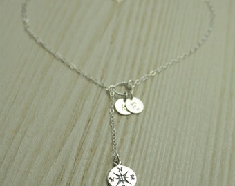 Personalised Silver Compass Disc Lariat Necklace, Mother Daughter Necklace, Silver Y Necklace,Best Friends Gift Idea, Anniversary Gift
