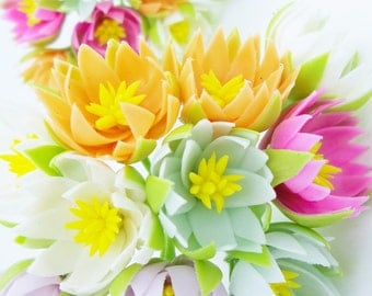 Miniature Polymer Clay Flowers Supplies Water Lily in colorful, 12 stems, assorted