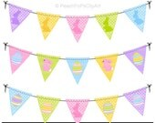 bunny clipart flag banners Easter - Lil Chic Bunny Bunting - Digital Clip Art