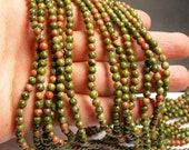 Unakite - 5mm (4.7mm)  round beads -1 full strand - 85 beads - A quality - RFG15