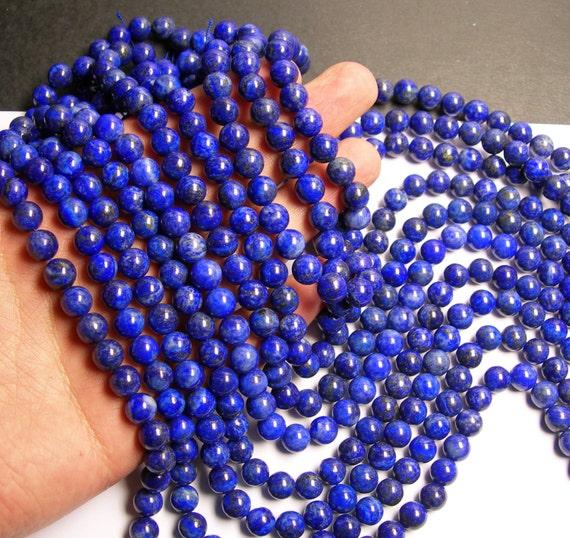 Lapis lazuli 8mm -  round - 1 full strand  - 49 beads - A quality
