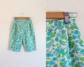 1960s Aquatic Blossom high waisted pique cotton capris / 60s bermuda shorts