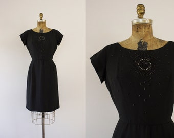1950s Beaded Starburst simplistic black wiggle dress / 50s holiday party