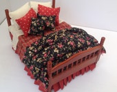 Dolls House Luxury Dressed cherry wood 112th Double Bed  Kristin