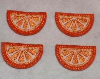 Feltie Machine Embroidered Hand made (4) Felt Orange Citrus Wedge CUT Embellishments / appliques