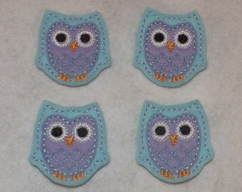 Feltie Machine Embroidered Hand made (4) Felt Owl CUT Embellishments / appliques