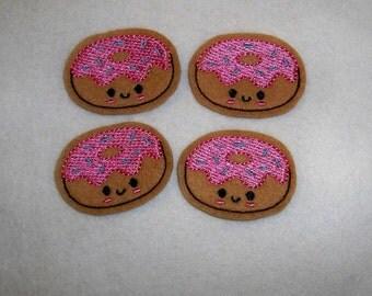 Feltie Machine Embroidered Hand made (4) Felt Doughnut CUT Embellishments / appliques
