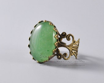 Aventurine ring Green aventurine quartz ring Vintage style antique bronze filigree adjustable ring Natural gemstone ring Stone jewelry