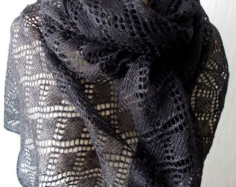 Linen Scarf Anthracite Grey Knitted Natural Spring Summer Shawl Lace Wrap
