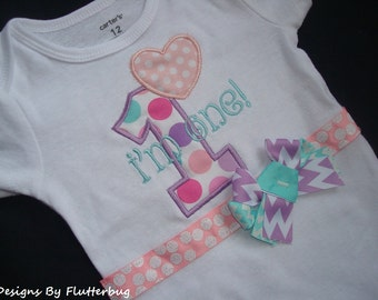 READY TO SHIP 1st Birthday Onesie- 12 month size -Appliqued Numeral One and heart in Blush Pink, Aqua and Lavender Dot