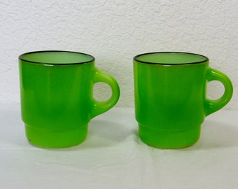 Green Anchor Hocking Fire King Cups