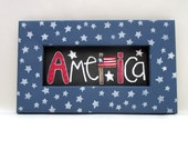 Celebrate America Folk Art Sign, Whimsical Art, American Flag, Reclaimed Wood Frame, Red, White, And Blue, Patriotic Frame, White Stars